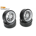"Team Magic Tires - 1/10 Drift - mounted - 8 Spoke Fog Silver wheels - 12mm Hex - Radials 2.2"" (4 pcs)"