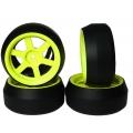 Yeah Racing Spec D 6 Spokes Wheel Offset +3 Yellow w/Tire 4pcs For 1/10 Drift #WL-0086