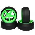 Yeah Racing Spec D 5 Spokes Wheel Offset +6 Green w/Tire 4pcs For 1/10 Drift #WL-0087