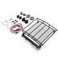 1/10 RC Rock Crawler Accessories Metal Mesh Wire Luggage Tray Type A w/ 4 White Light 12.5cm X 11.5cm X 3cm ( YA-0401 )