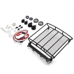 1/10 RC Rock Crawler Accessories Metal Mesh Wire Luggage Tray Type A w/ 4 White Light 12.5cm X 11.5cm X 3cm ( YA-0401 )